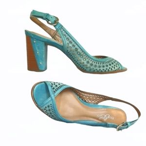 Sz36 Bos & Co Leather Turquoise Sandals
